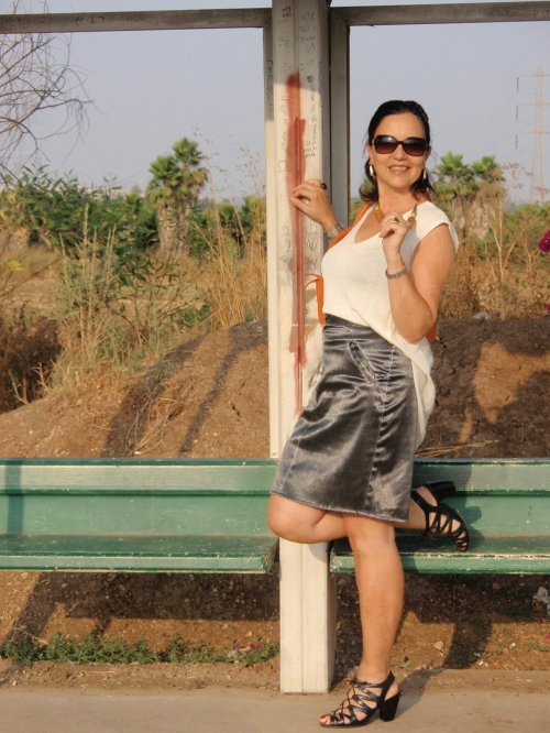 black shimmery skirt