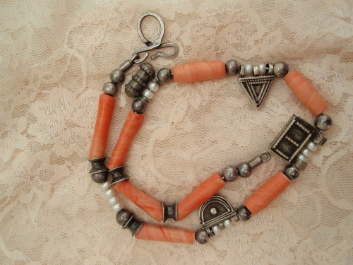 Ethiopian silver, African beads, pearls