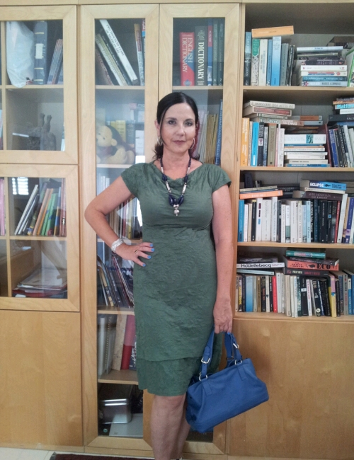 green dress  and library3