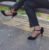 black healed shoes