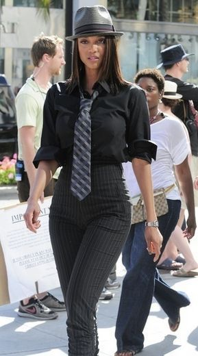 Tyra Banks filming 'America's Next Top Model' in Beverly Hills, CA
