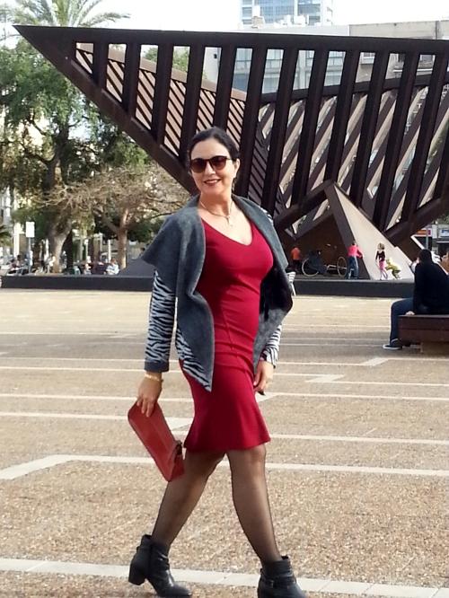 zebra jacket and red dress 3