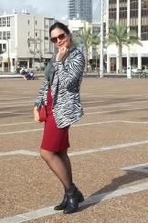 zebra jacket and red dress 4