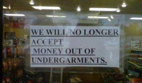 money out of undergarments