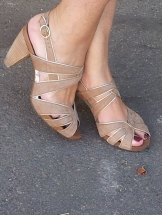 brown and gold sandals