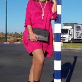 pink dress and ankle boots