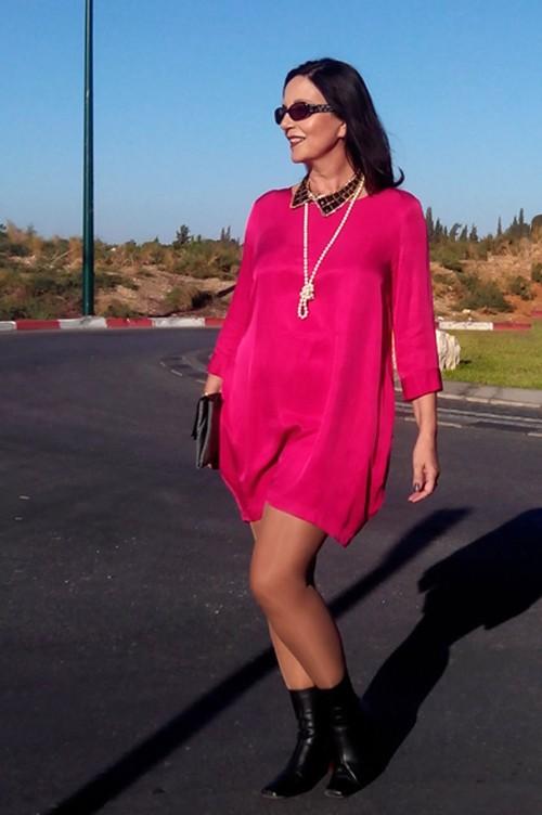 shocking pink  mini dress