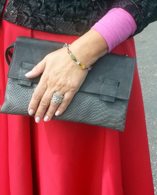 gray clutch bag