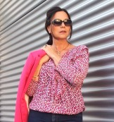 pink leaopard top and jeans