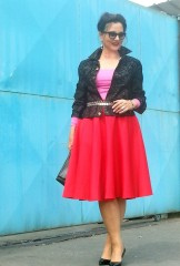 full red skirt and pink top