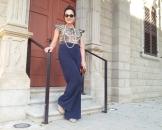 blue palazo pants, brown top