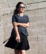 black skirt and gray top