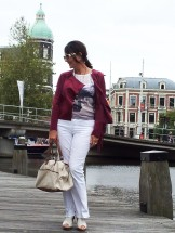 maroon jacket, white trousers