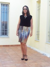 colorful skirt, black velvet shirt