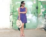 blue summer dress, red sandals