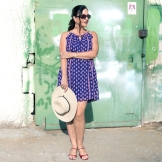 blue summer dress, red sandals