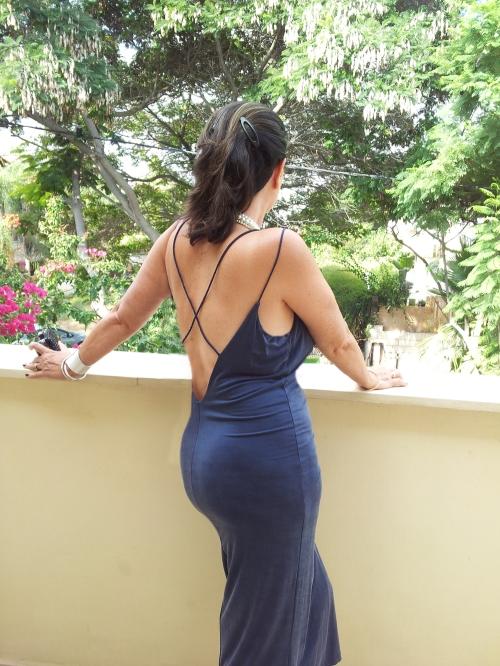 low caut blue dress